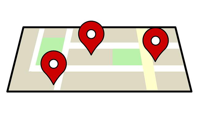 Markierung von Orten auf symbolischer Karte