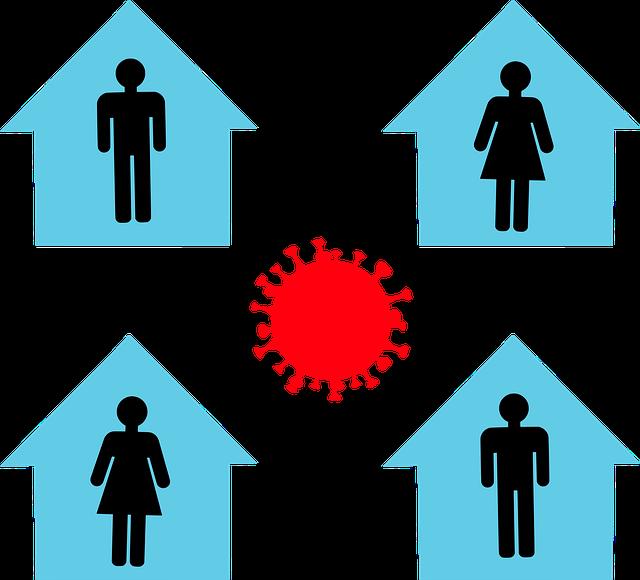 vier Menschen in vier Häusern Isolation Quarantäne
